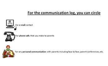 Parent Communication Log: Can be used for artifacts