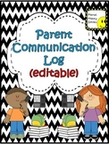 Parent Communication Log ~ Chevron B/W Print (Editable)