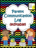 Parent Communication Log ~ Chevron Rainbow Print with black bkgd (Editable)