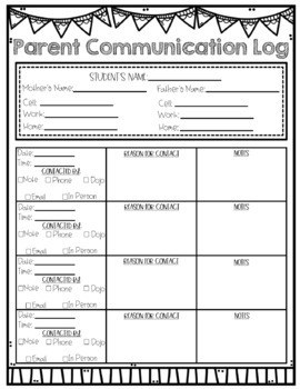 Parent Communication Log: Digital and Printable