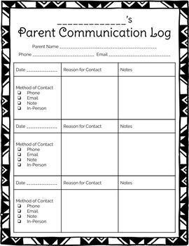 Parent Communication Log (Editable)