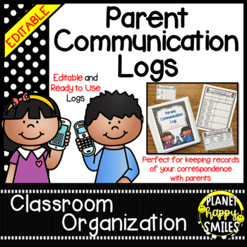 Parent Communication Log ~ Polka Dot B/W Print (Editable)