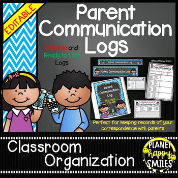 Parent Communication Log (Editable) Aqua and Chalkboard Theme