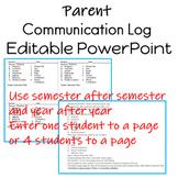 Parent Communication Log Editable PowerPoint