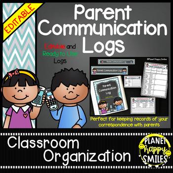 Parent Communication Log (Editable) Teal and Chalkboard Theme