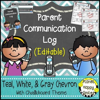Parent Communication Log (Editable) Teal and Chalkboard Theme