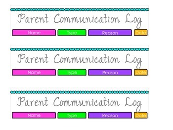 Parent Communication Log (Erin Condren Teacher Planner)