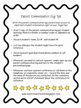 Parent Communication Log: For Teachers