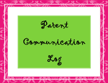 Parent Communication Log Pink and Green with Title Page