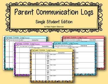 Parent Communication Log - Single Student Edition