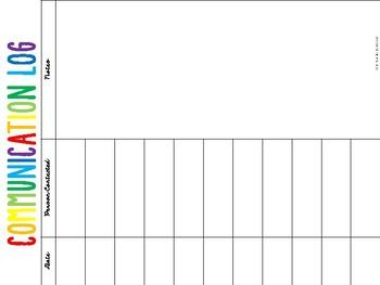 Parent Communication Log - Student Information Forms