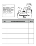 Parent Communication Log for Student Folders/Binders