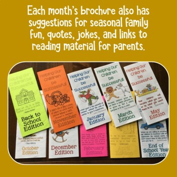 Parent Communication - Month by Month Brochures for the Whole Year