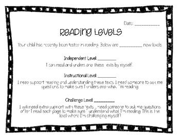 Parent Communication: Reading Levels