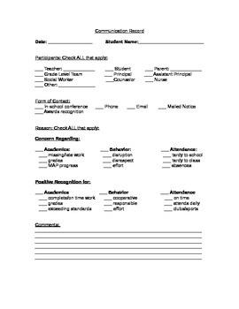 Parent Communication Record