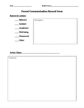 Parent Communication Record Form