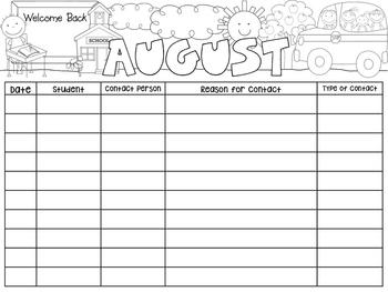 Parent Communication Recording Sheets/Log Sheets (RISE)