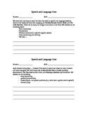 Parent Communication- Speech and Language Notes