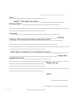 Parent Communication Student Letters to Their Families