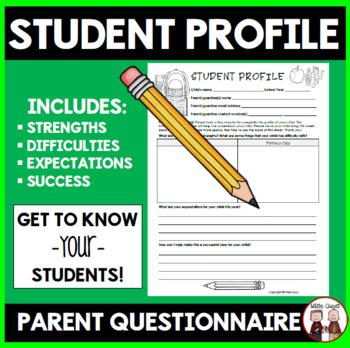 Parent Communication: Student Profile Sheet FREE