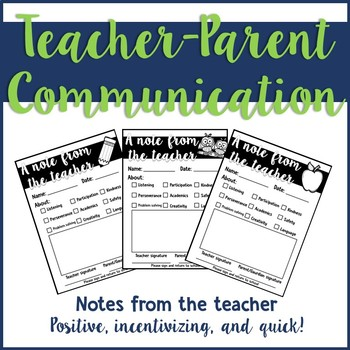Parent Communication: Teacher Notes Home