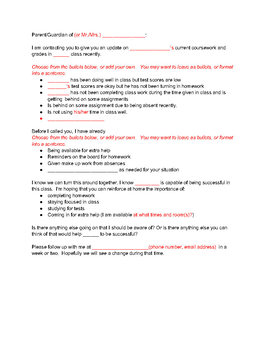 Parent Communication  Editable Templates
