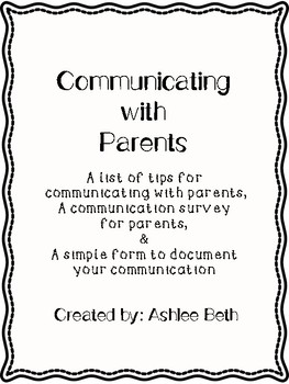Parent Communication Tips & Forms