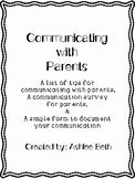 Parent Communication Tips & Forms