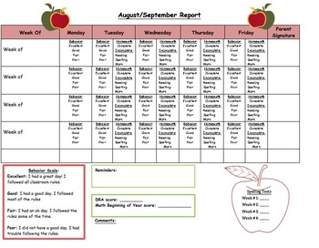 Parent Communication Weekly/Monthly Calendar