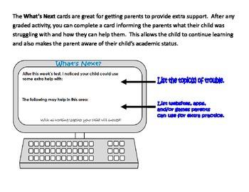 Parent Communication - What's Next Cards