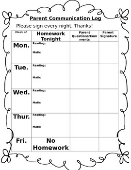 Parent Communication and Homework Log