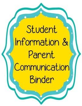 Parent Communication and Student Information Binder Forms