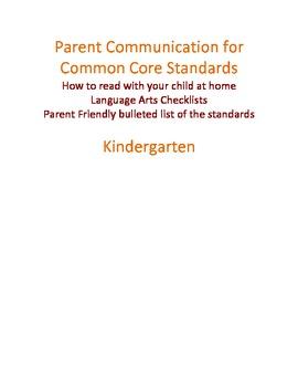 Parent Communication for Common Core LA in Kindergarten PDF