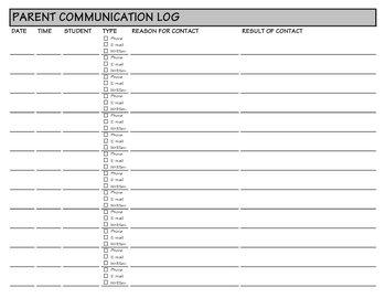 Parent Communication/Contact Log