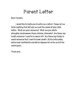 Parent Concern Letter for Beginning of the Year