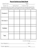 Parent Conference Data Form