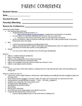 Parent Conference Form