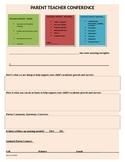 Parent Conference Form CCSS