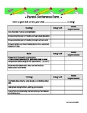 Parent Conference Form-Covers it all!