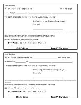 Parent Conference Form (Editable)