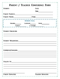 Parent Conference Form - Fillable Form