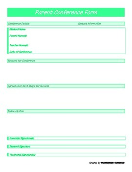 Parent Conference Form - Green Generic - PP