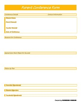 Parent Conference Form - Orange Generic - PP