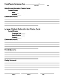 Parent Conference Form *EDITABLE*