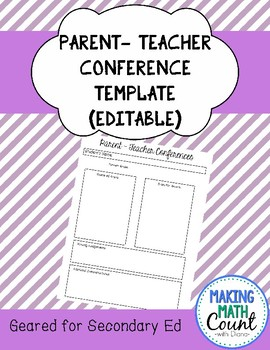 Parent Conference Forms (Editable) (Secondary edition)