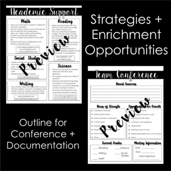 Parent Conference Forms: Support, Enrichment, and Documentation