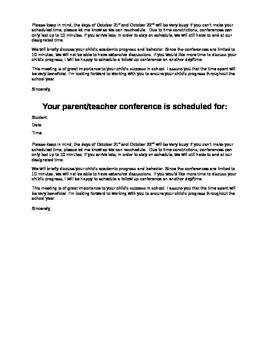 Parent Conference Letter