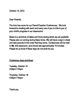 Parent conference letter spanishenglish by a to z resources tpt parent conference letter spanishenglish expocarfo Images