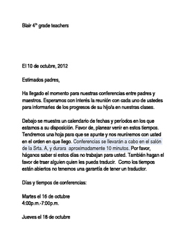 Parent Conference Letter Spanish/English