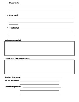 Parent Conference Meeting Notes - Teacher Documentation